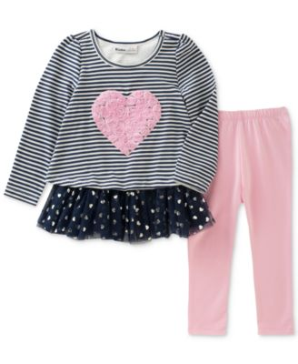 Image of Kids Headquarters 2-Pc. Striped Long-Sleeve Tunic & Leggings Set, Toddler Girls (2T-5T)