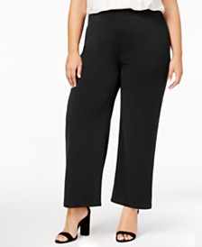 NY Collection Plus Size Pull-On Wide-Leg Pants, Created for Macy's