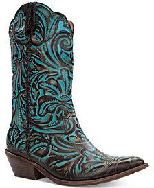 Patricia Nash Bergamo Turquoise Tooled Western Mid-Shaft Boots