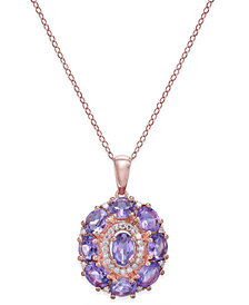 Amethyst (3-1/2 ct. t.w.) & Diamond (1/8 ct. t.w.) Pendant Necklace in 14k Rose Gold