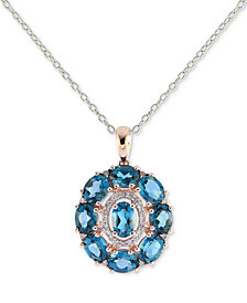 London Blue Topaz (4-1/2 ct. t.w.) & Diamond (1/8 ct. t.w.) Pendant Necklace in 14k Rose Gold