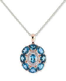 London Blue Topaz (4-1/2 ct. t.w.) & Diamond (1/8 ct. t.w.) Pendant Necklace in 14k Rose Gold