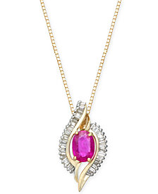 Ruby (1 ct. t.w.) & Diamond (3/8 ct. t.w.) Pendant Necklace in 14k Gold