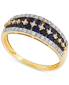 Sapphire (1 ct. t.w.) & Diamond (1/6 ct. t.w.) Ring in 14k Gold