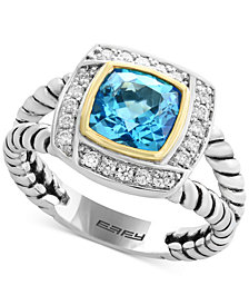 EFFY® Blue Topaz (1-3/4 ct. t.w.) & Diamond (1/8 ct. t.w.) Ring in Sterling Silver & 18k Gold