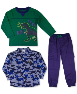 Nannette 3Pc Printed Shirt TShirt  Cargo Pants Set Toddler Boys (2T5T)