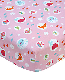 Carter's Sea  100% Cotton Graphic-Print Fitted Crib Sheet