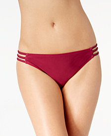 California Waves Juniors' Hypnotic Optic Strappy Hipster Bikini Bottoms, Created for Macy's
