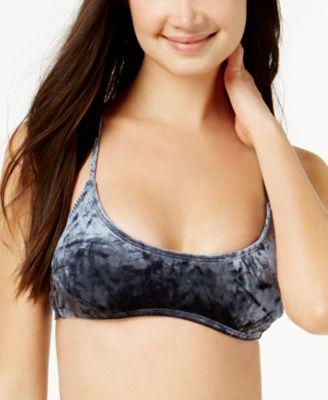 Juniors' Crushed Velvet Bralette Bikini Top, Created for Macy's