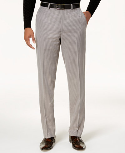 Sean John Men's Classic-Fit Stretch Gray Pinstripe Suit Pants