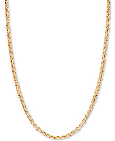 "18"" Round Box Link Chain Necklace in 14k Gold"