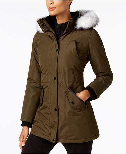 Halifax Hfx Faux Fur Trim Water Resistant Coat Created For Macy S Amp Reviews Coats Women