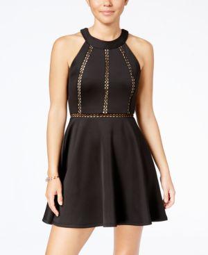 Crystal Doll Juniors' Cutout-Stripe Fit & Flare Dress 4954488