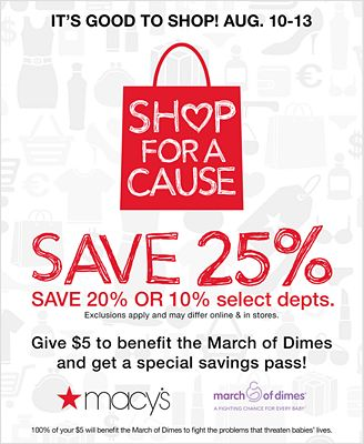 $5 SHOP FOR A CAUSE SAVINGS PASS