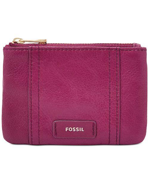 b534b0992f7 Fossil Ellis Leather Zip Coin Purse - Handbags   Accessories - Macy s