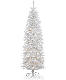 7' Kingswood White Fir Hinged Pencil Tree with 300 Clear Lights