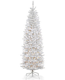 National Tree Company 7' Kingswood White Fir Hinged Pencil Tree with 300 Clear Lights