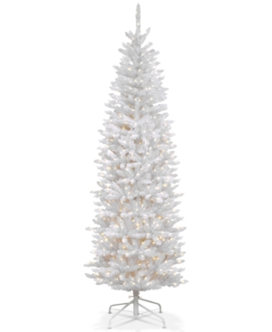 National Tree Company 7 Kingswood White Fir Hinged Pencil Tree with 300 Clear Lights