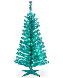 National Tree Company 4' Turquoise Tinsel Tree With Plastic Stand & 70 Clear Lights