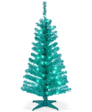 National Tree Company 4 Turquoise Tinsel Tree With Plastic Stand  70 Clear Lights