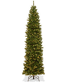 National Tree Company 9' North Valley Spruce Pencil Slim Tree With 550 Clear Lights