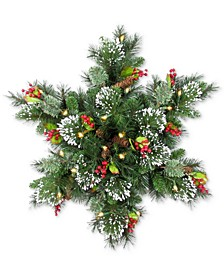 "32"" Wintry Pine LED Snowflake Swag With Cones, Red Berries & Snowflakes"