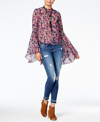 American Rag Juniors' Bell-Sleeve Top & Ripped Skinny Jeans, Created for Macy's