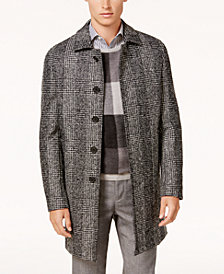 Ryan Seacrest Distinction™ Men's Modern-Fit Black/White Plaid Overcoat, Created for Macy's