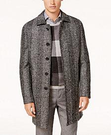 Ryan Seacrest Distinction™ Men's Modern-Fit Black/White Plaid Overcoat, Created for Macy's