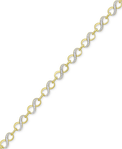 Diamond Accented Infinity Link Bracelet in 18k Gold & Rhodium Plate