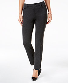 Charter Club Petite Straight-Leg Pants with Faux-Leather Trim, Created for Macy's