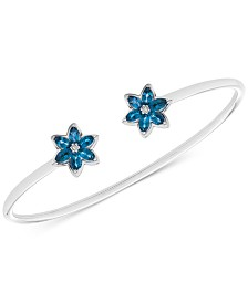London Blue Topaz (1-1/5 ct. t.w.) & Diamond Accent Flower Cuff Bracelet in Sterling Silver