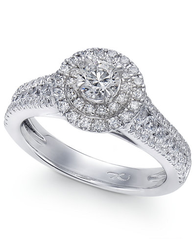 x3 certified diamond halo engagement ring in 18k white gold 1 14 - Macys Wedding Rings