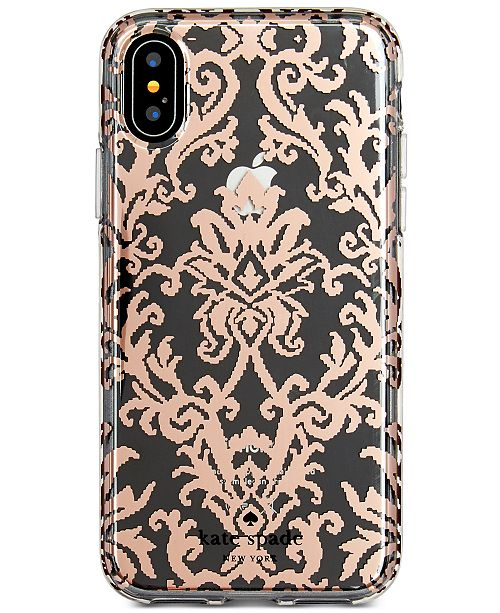 uk availability 83bf6 10227 kate spade new york Rose Gold-Tone Tapestry iPhone X Case ...
