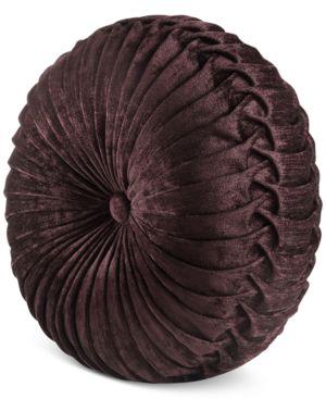 "J Queen New York Sicily Tufted 15"" x 2"" Round Decorative Pillow Bedding 5005675"