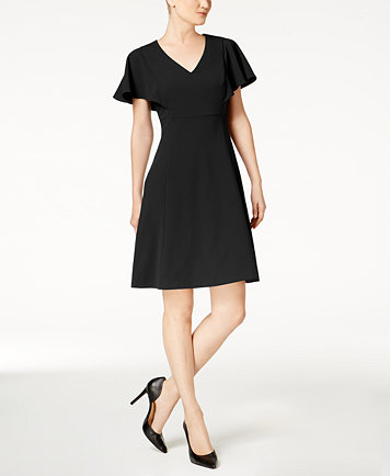 Image 1 Of Calvin Klein Pee Flutter Sleeve A Line Dress