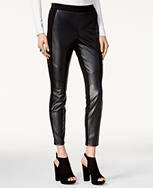Faux Leather & Stretch Pants, Created for Macy's