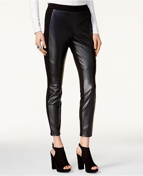 Bar III Faux Leather & Stretch Pants, Created for Macy's