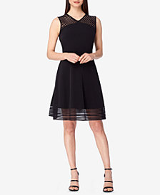 Tahari ASL Illusion-Striped Fit & Flare Dress