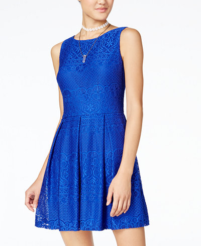 B Darlin Juniors Lace Pleated Fit Amp Flare Dress Juniors