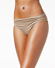 Kenneth Cole Metallic Shirred Bikini Bottoms