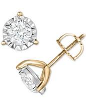 fa4ed5b3e25d TruMiracle® Diamond Three-Prong Stud Earrings (1 ct. t.w.) in 14k