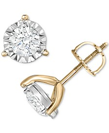 TruMiracle® Diamond Three-Prong Stud Earrings (1 ct. t.w.) in 14k Gold