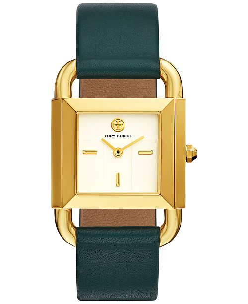 10c71c85376 ... Tory Burch Women s Phipps Valley Forge Green Leather Strap Watch  29x41mm ...