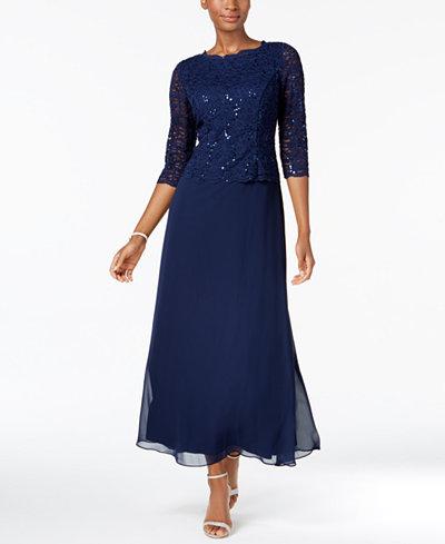 Alex Evenings Petite Sequin Lace Gown