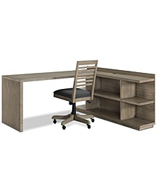 Ridgeway Home Office 3-Pc. Set (Return Desk, Peninsula USB Outlet Bookcase & Desk Chair), Created for Macy's