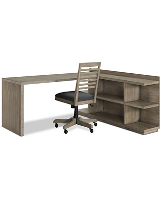 Ridgeway Home Office Furniture, 3 Pc. Set (Return Desk, Peninsula Usb Outlet Bookcase & Desk Chair), Created For Macy's by Macy's