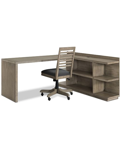 Ridgeway Home Office Furniture, 3-Pc. Set (Return Desk, Peninsula USB on home library with ladder, home office furniture ideas, home office desk with drawers, home office furniture design, girls loft bunk beds with desk, home office bookcase with ladder, home office desk furniture wood, home office wall units with desk,