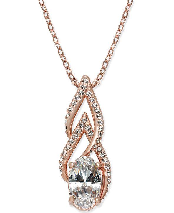 Eliot Danori Rose Gold-Tone Crystal & Pavé Pendant Necklace, Created for Macy's