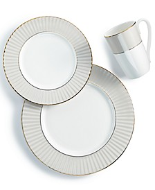 Pleated Colors Gray 3-Pc. Place Setting